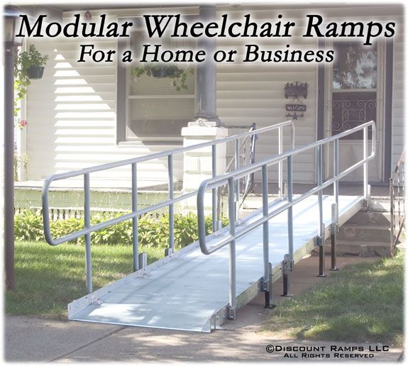 Pvi modular xp aluminum wheelchair ramp with handrails for Handicap accessible mobile homes for sale