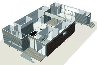 Rendering Of Shipping Container House Design By