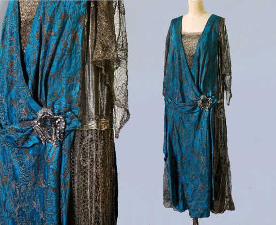 INCREDIBLE Couture 1920s Dress / 20s Metallic Gown / Bright Blue / METAL FIBERS Lace / Lame / Exquisite Museum Quality