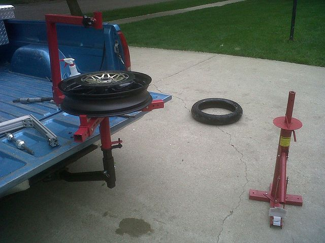 Truck Hitch Mount For Harbor Freight Tire Changer By Lee Heather Via Flickr Homemade Motorcycle Motorcycle Tires Tire