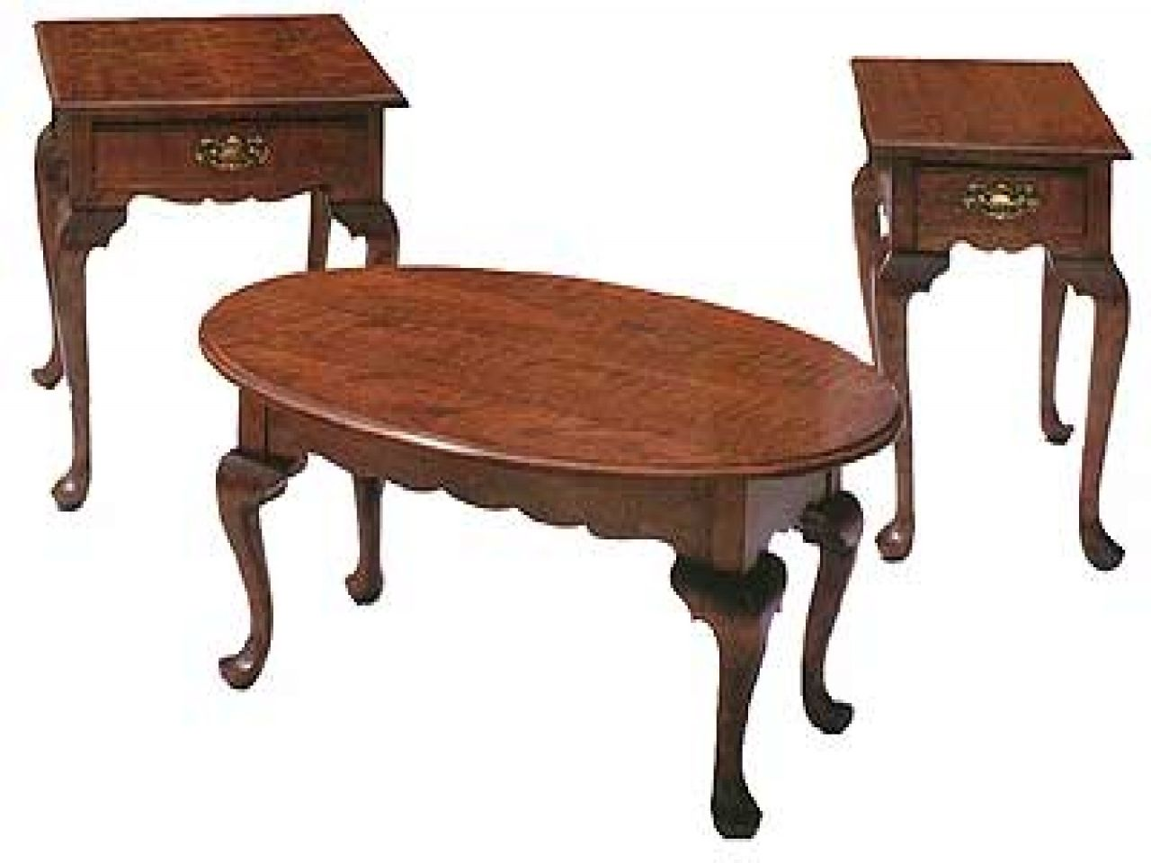 Queen Anne Cherry Coffee Table Set