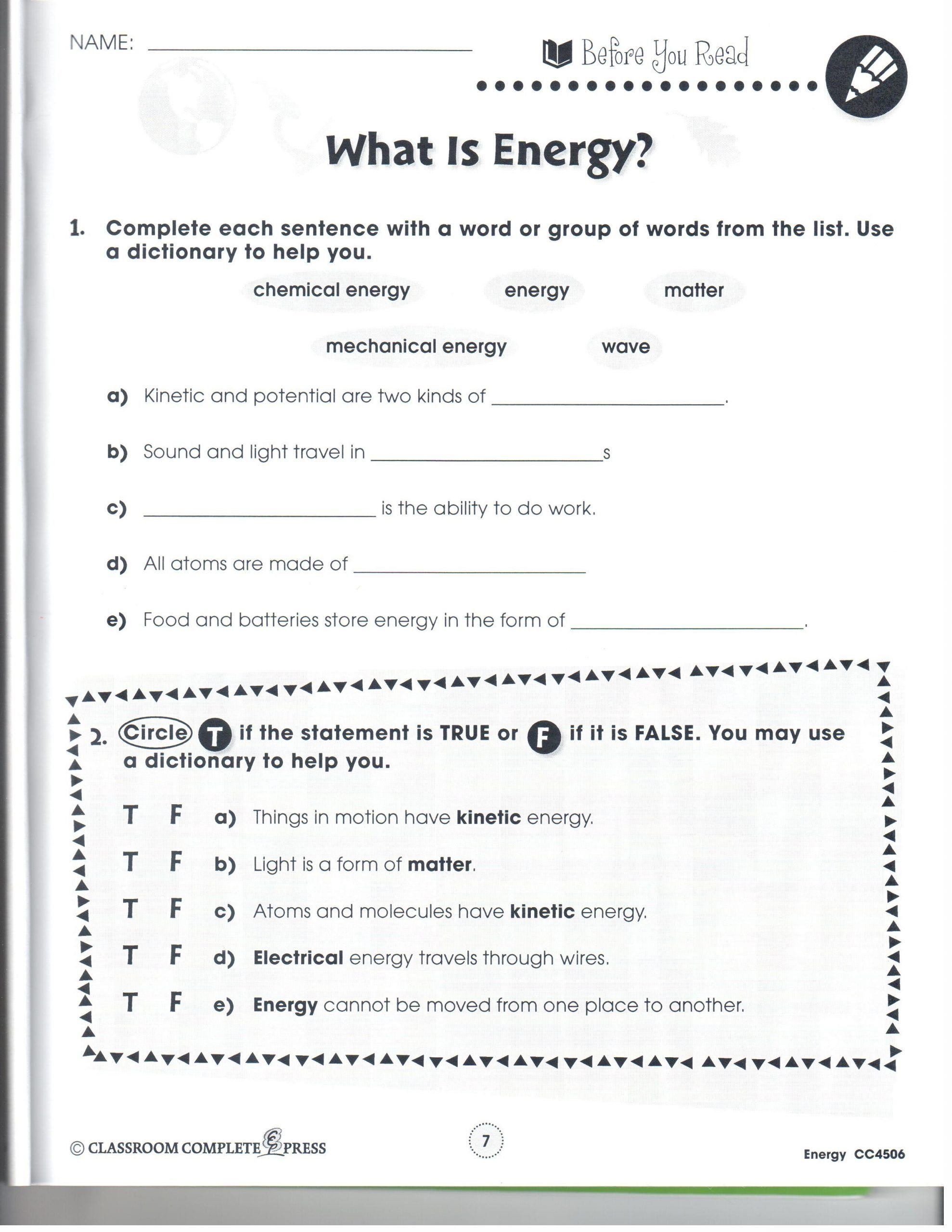 Energy Transformation Worksheet Middle School Energy And