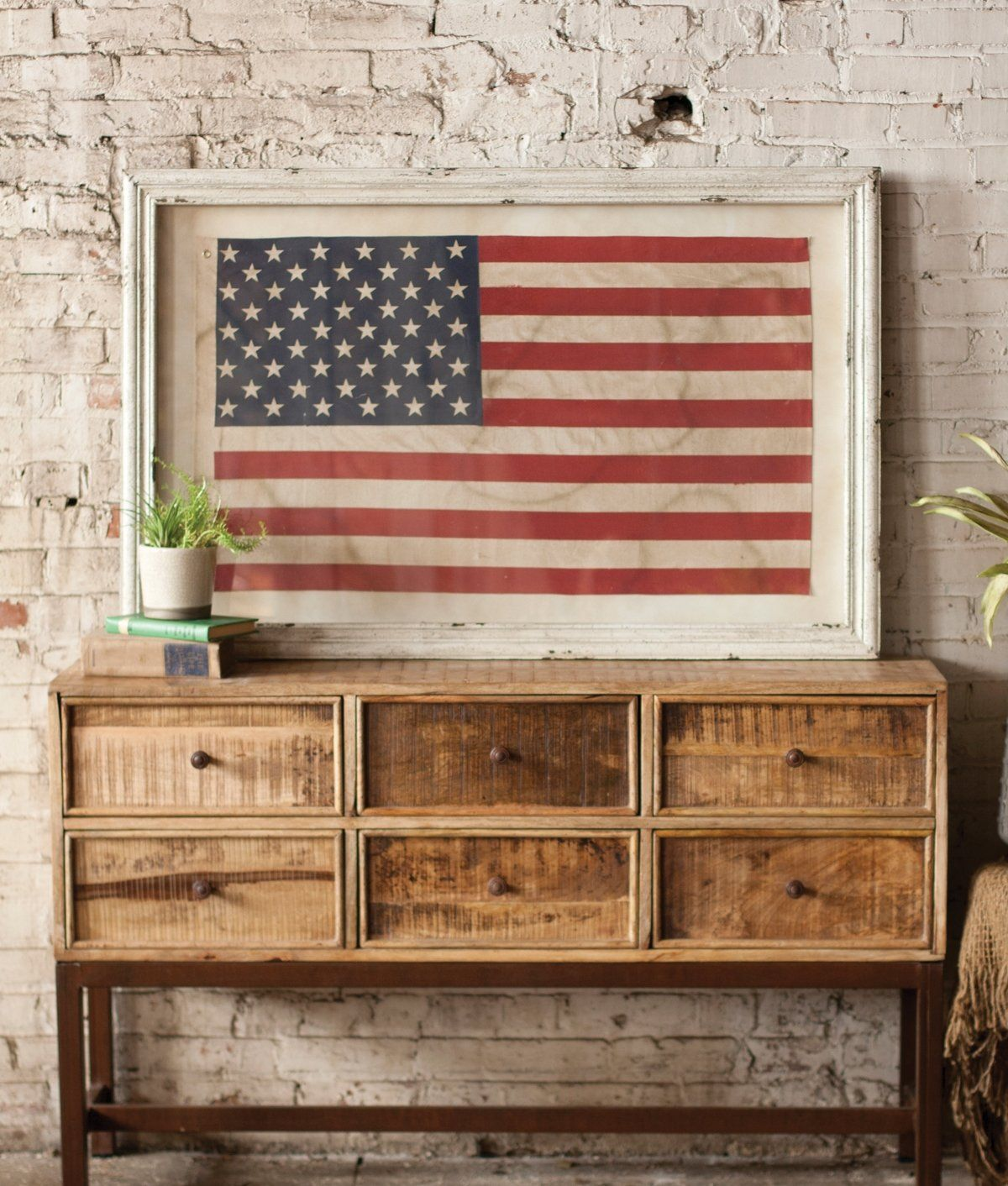 Large Framed American Flag