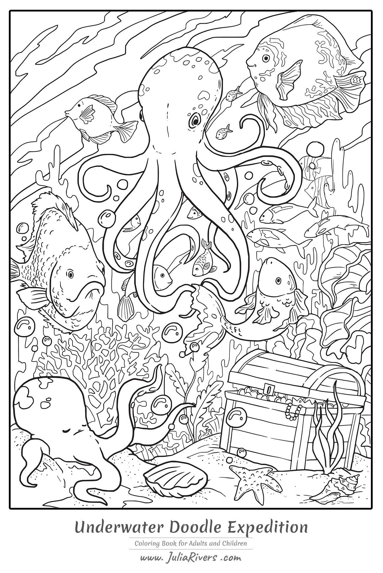 Underwater Doodle Expedition Magnificent Coloring Page Representing A Giant Octopus At The Bot Detailed Coloring Pages Coloring Pages Animal Coloring Pages