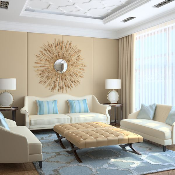cream and blue hued rooms ideas and inspiration - Beige Living Room