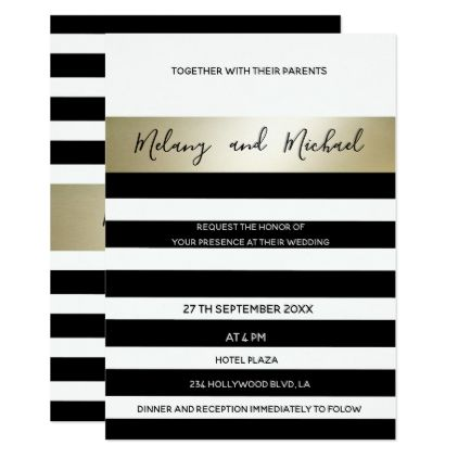 Elegant modern gold Black white stripes Card Black white stripes - invitation card event