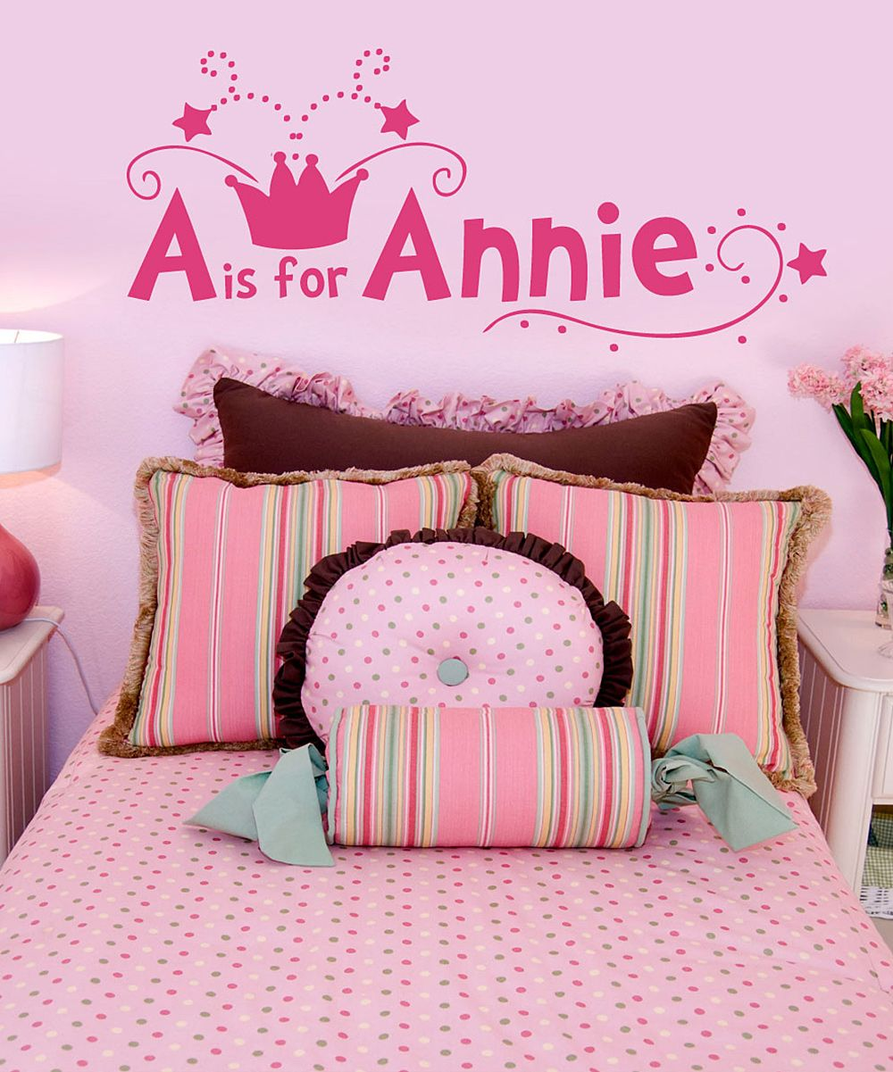 Dark pink crown personalized wall decal set daily deals for moms