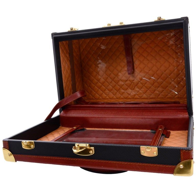 Vintage Black Suitcase with Brown Leather Trim