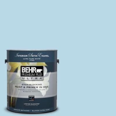 BEHR Premium Plus Ultra 1-gal. #M490-1 Breezy Blue Satin Enamel Interior Paint-775001 - The Home Depot