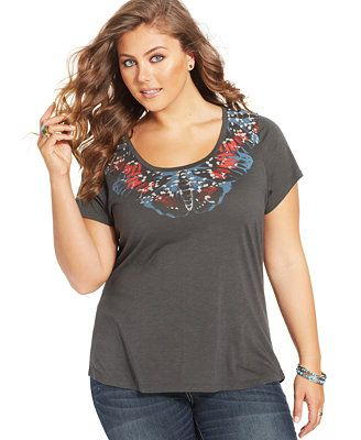 Lucky Brand Plus Size Short-Sleeve Painted-Butterfly Tee