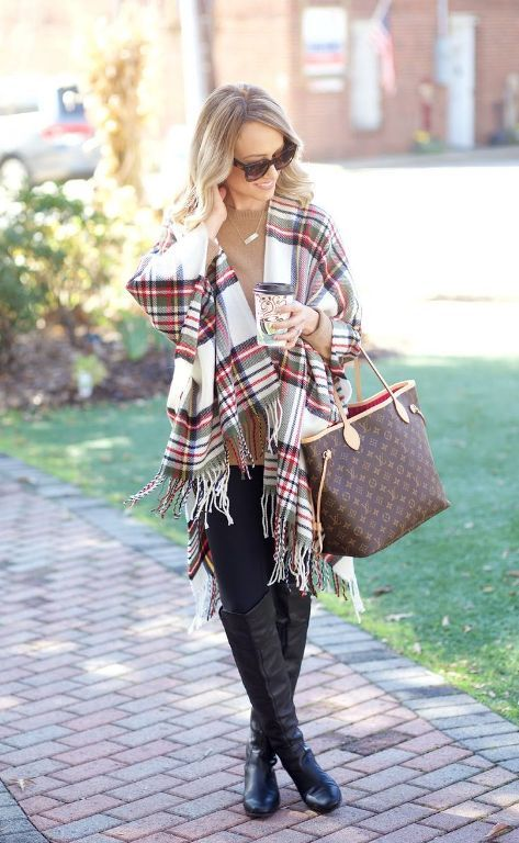 plaid blanket scarf outfit, How to dress chic and warm in winter http://www.justtrendygirls.com/how-to-dress-chic-and-warm-in-winter/