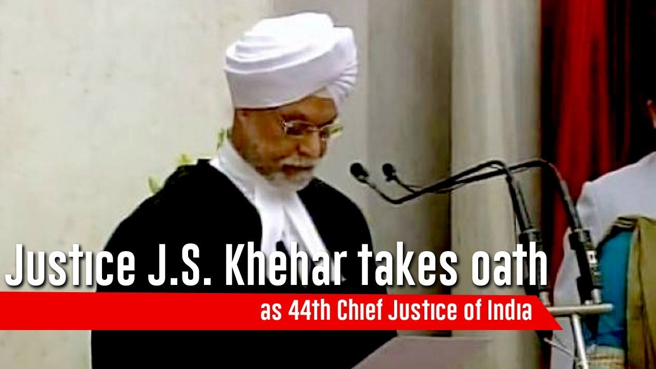 Justice J S  Khehar takes oath as 44th Chief Justice of India