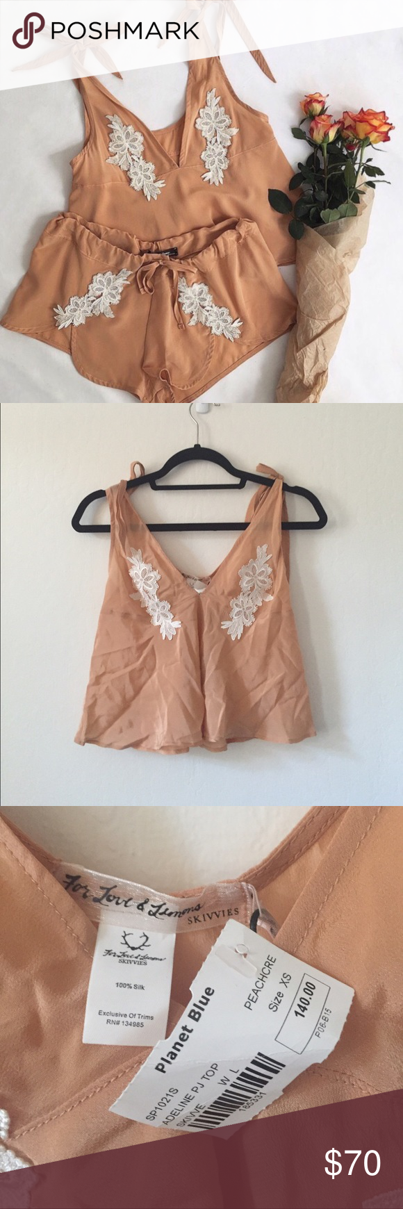 For Love and Lemons Adeline Top For love and lemons silk tank. Size XS. New with tags. Cheaper on merc or eBay. For Love and Lemons Tops
