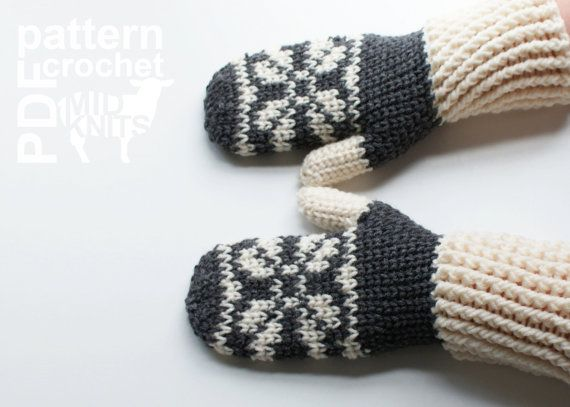 DIY Crochet PATTERN - Fair Isle Crochet Snowflake Mittens- Ladies ...