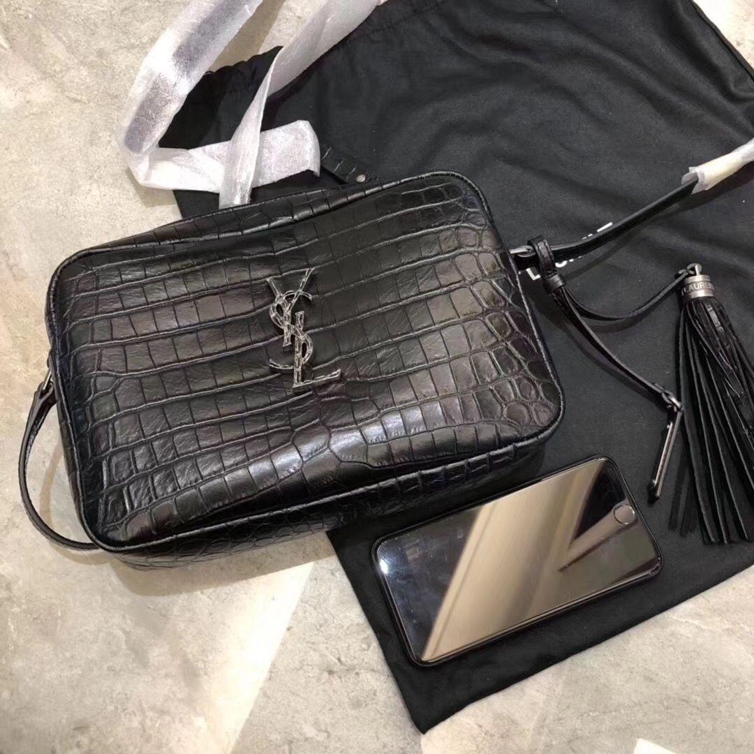 Lou Camera Bag In Matte Black Crocodile Embossed Leather Ysl Bag Bag Sale Embossed Leather