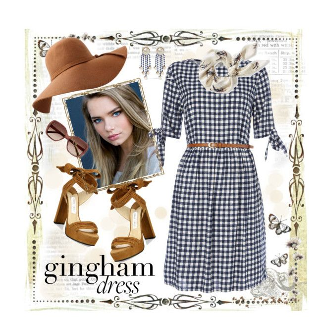 """""""Gingham Dress"""" by curvygirlamy ❤ liked on Polyvore featuring Jimmy Choo, L.L.Bean, Chloé and Valentino"""