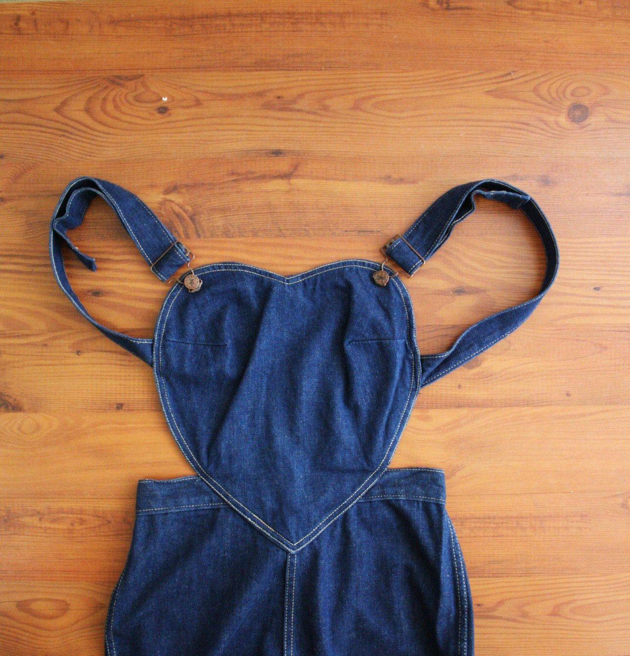 d594b229d4fd RESERVED--- Vintage Overalls . Denim Heart . Novelty . 70 s Pants.  78.00