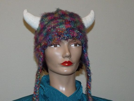 Hand Knit MultiColored Viking Hat by MadMadameHatter on Etsy