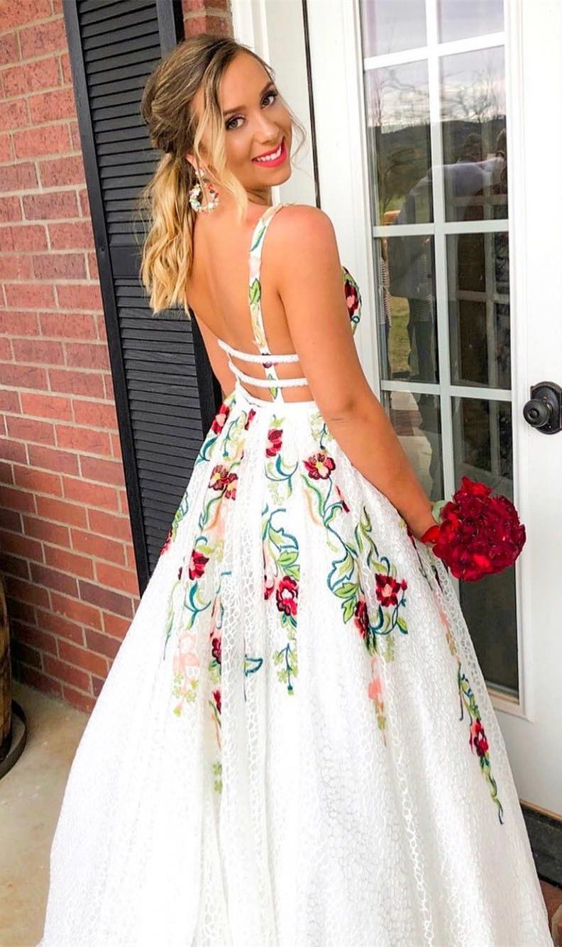 cf588966959 Princess V Neck Floral Embroidery Long Prom Dress in 2019 | ♡Prom ...