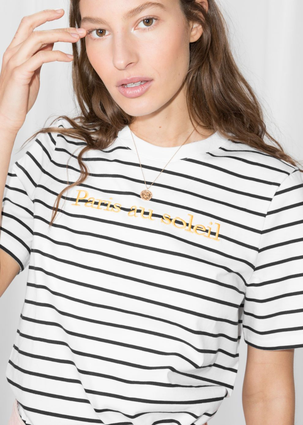 7e280149e Embroidered Striped Shirt - Black / White - Striped T-shirts - & Other  Stories