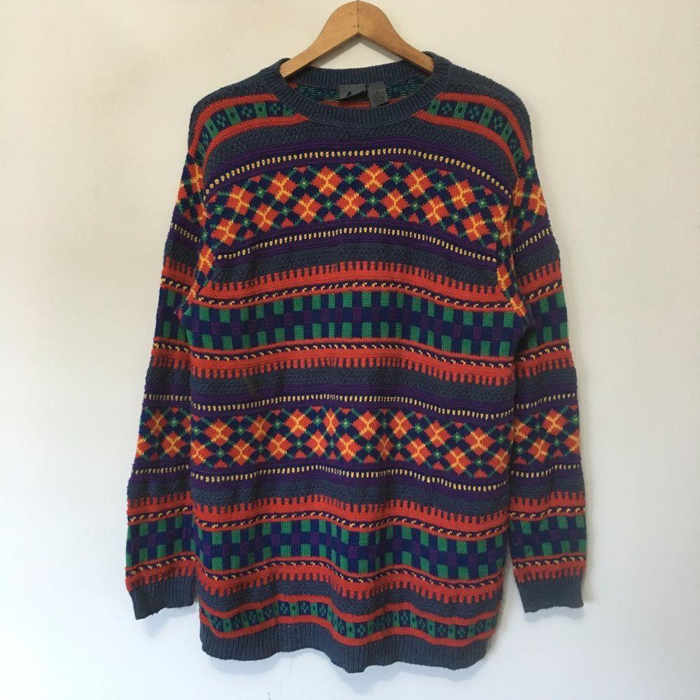 VTG 80s 90s Liz Wear Fun Fair Isle Print Sweater Womens SZ M Color ...