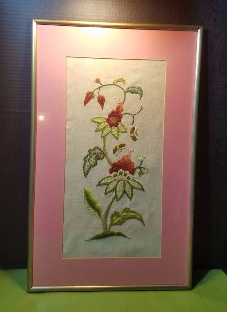 Vintage Fl Crewel Embroidery Needlepoint Flowers Framed 70 S Wall Art Pink