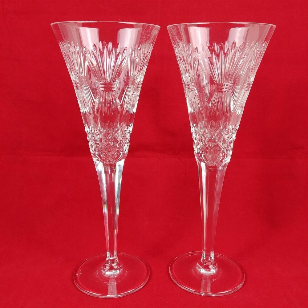 2 Waterford Celebration Champagne Flutes 9 1 4 Tall Stemware Harvest Crisscross Waterford Champagne Flutes Crystal Stemware Stemware