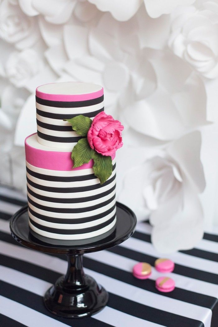 Pleasing Black White With A Pop Of Hot Pink Party Inspiration New Funny Birthday Cards Online Overcheapnameinfo