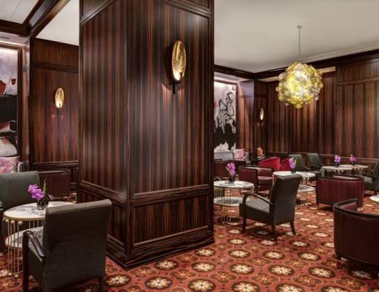 Niermann Weeks' Purcell Table was used in the lobby lounge of The New York Palace.  niermannweeks.com #NiermannWeeks