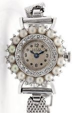 7d81f9c3bb202 Vintage 1940s Lucien Piccard Cultured Pearl Diamond 14k White Gold ...