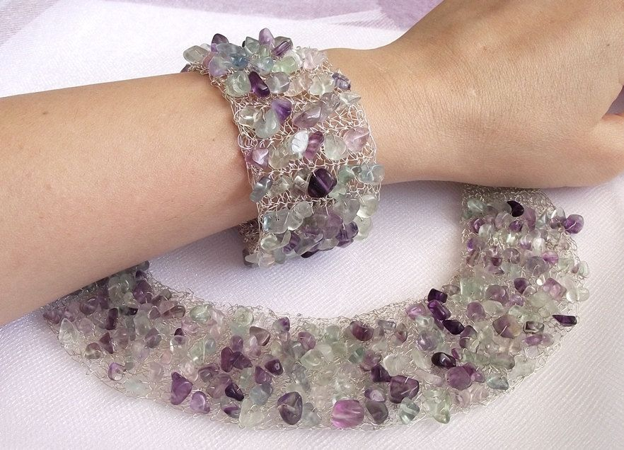 bib necklace, crochet wire jewelry, gemstone jewelry, fluorite ...