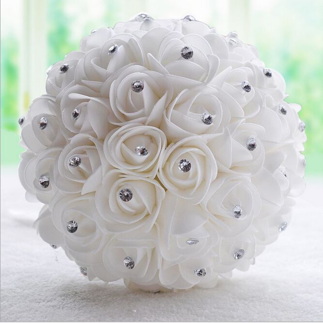 Encontrar Más Ramos de Flores Información acerca de Blanca hermosa de marfil dama de honor nupcial de la flor wedding bouquet artificial rose bouquet cristal ramos de novia, alta calidad ramos de flores para bodas precios, China ramo de flores de precios Proveedores, barato embalaje de la flor de H&S Bridal-Customized Wedding Evening Dresses en Aliexpress.com