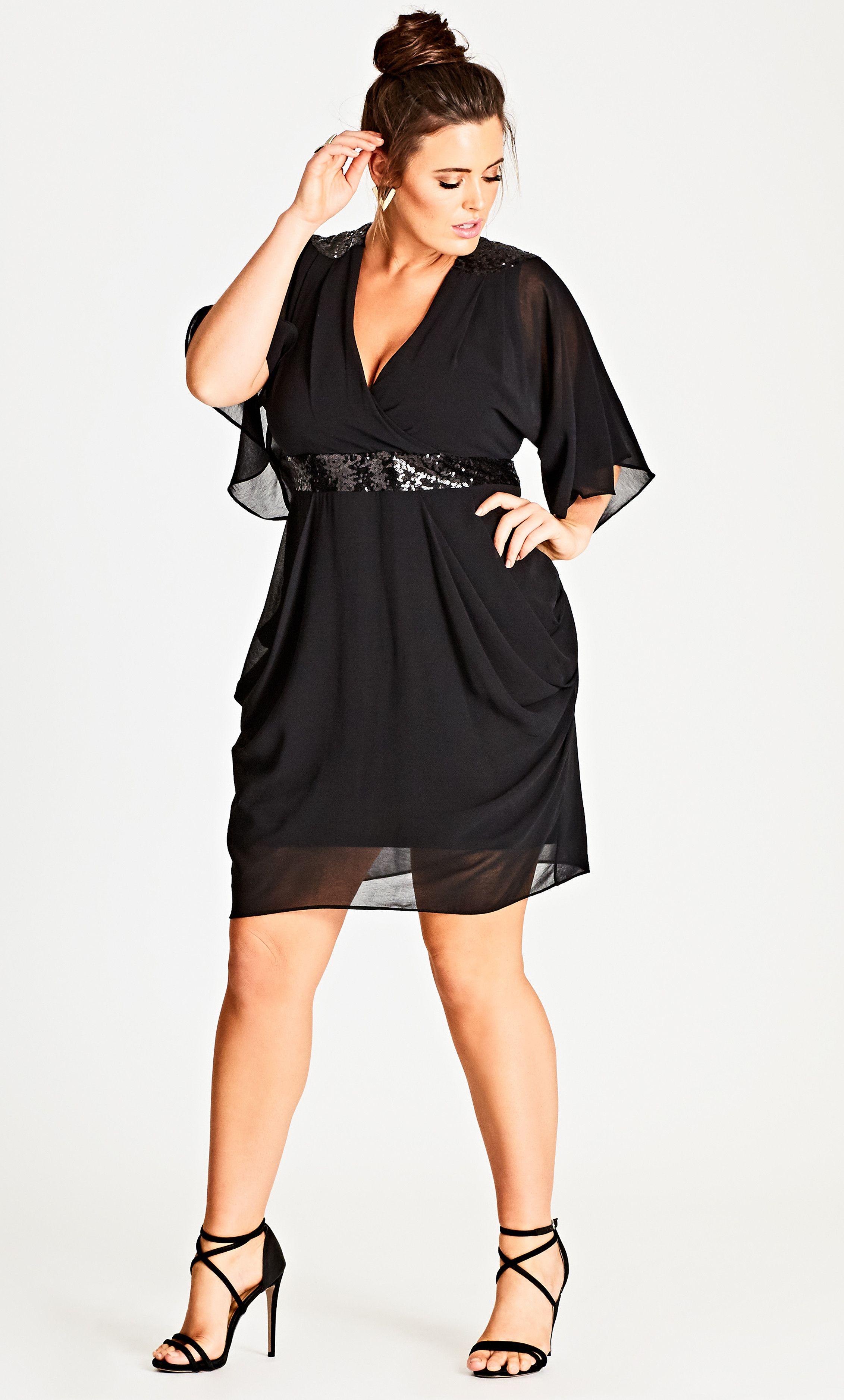 Black sequinned faux wrap dress looks lindos pinterest dresses