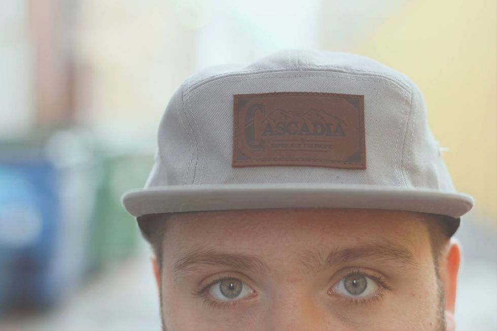 Grey 5 panel with embossed genuine leather patch