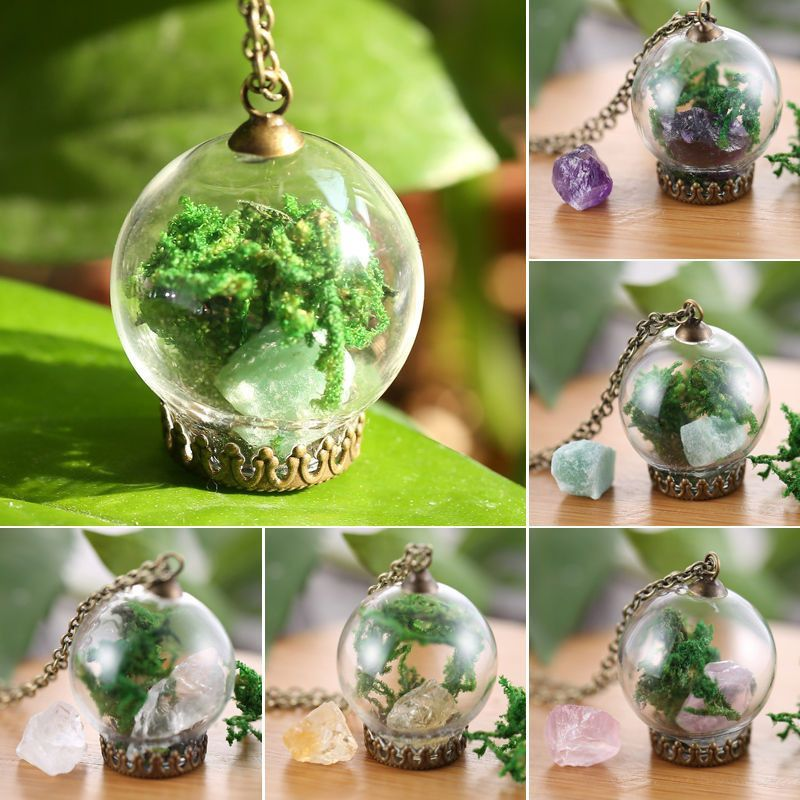 White Gold GP Natural Real Dried Flower Glass Pendant Chain Necklace Jewelry New
