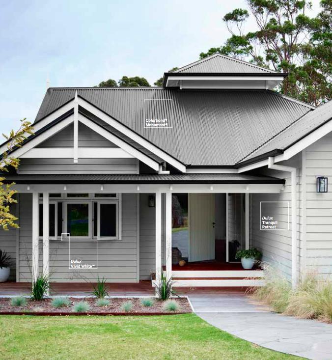 House Paint Schemes: Dulux Weatherboard Paint Colours- Grey, White, Black