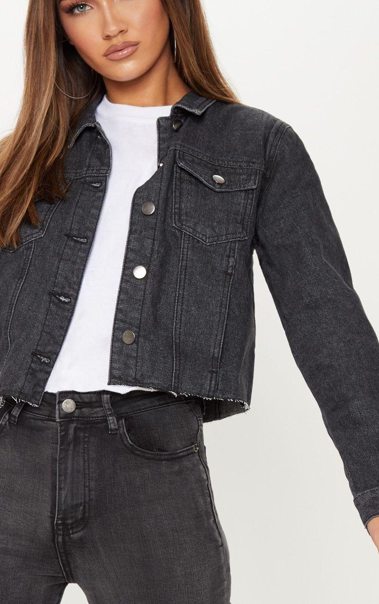 Washed Black Cropped Denim Jacket | Black denim jacket ...