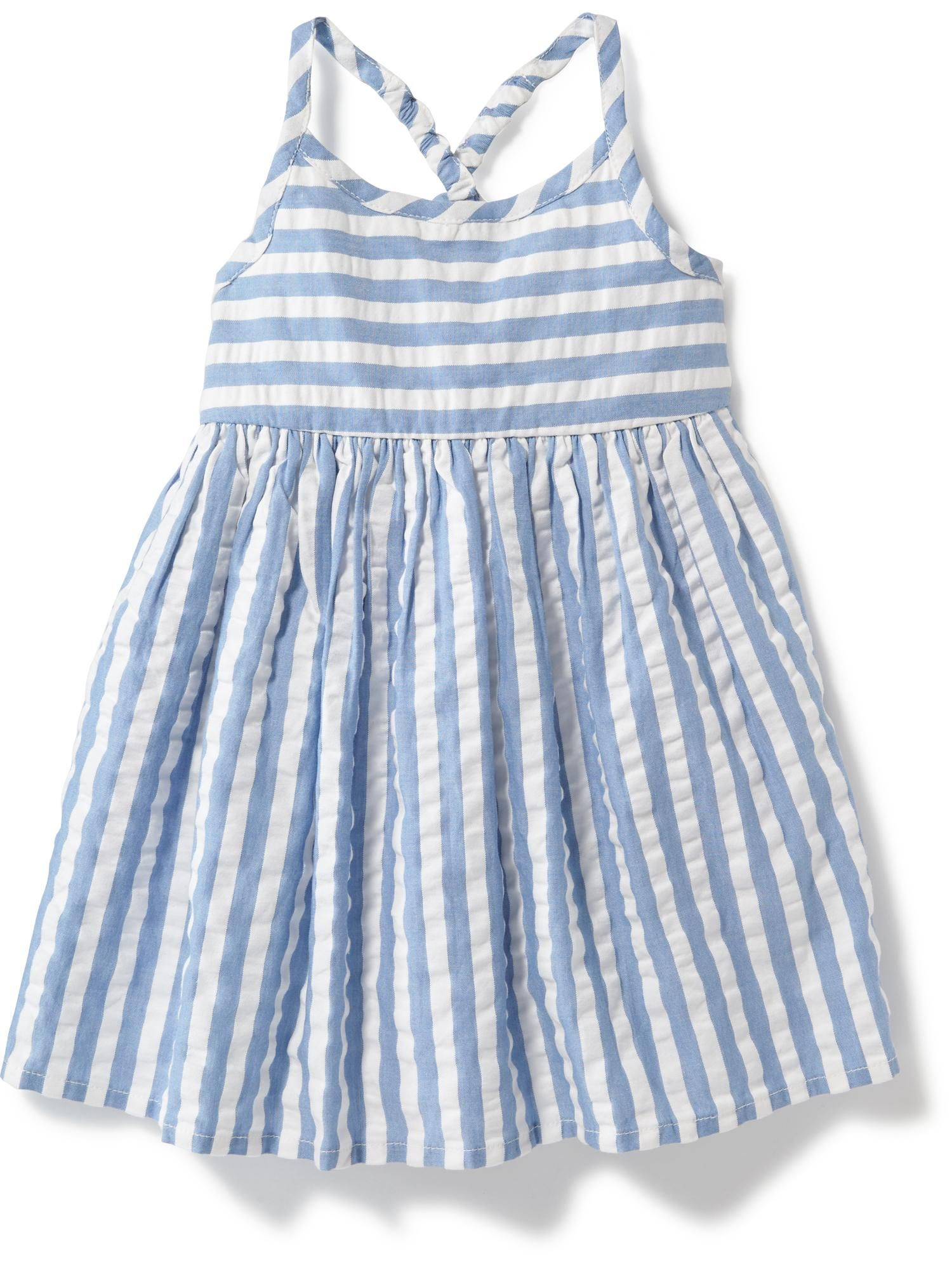 Cross Back Striped Seersucker Dress for Baby Old Navy