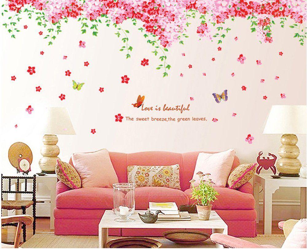 Ufengke romantiche farfalle fiore di ciliegio adesivi murali camera da letto soggiorno adesivi - Stickers da parete personalizzati ...