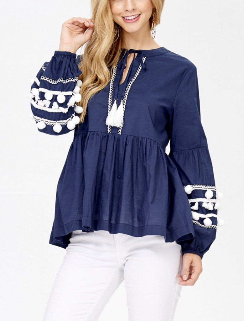 052920c863d582 Navy OR Wine Red Long Sleeve Pom Pom Tunic with Tassel Tie | Tops ...