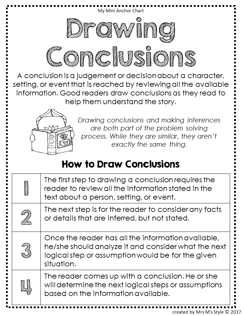 Drawing Conclusions Anchor Chart Drawing Conclusions
