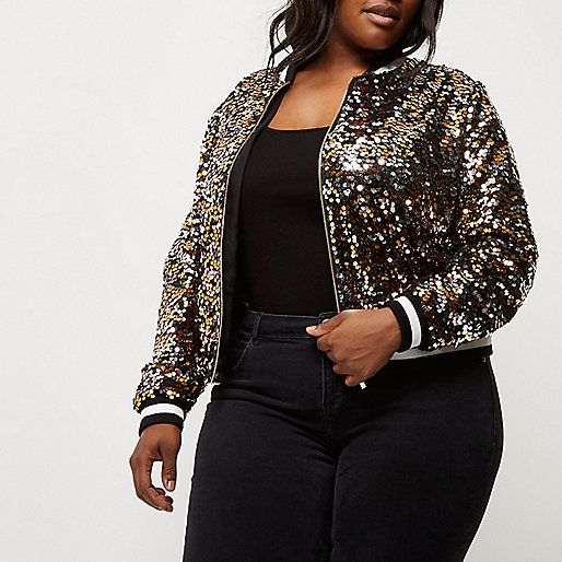 976893add Plus gold sequin bomber jacket | 12.1-1.1 in 2019 | Winter jackets ...