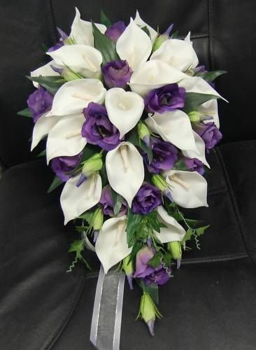 Silk Cascading Bouquets Wedding Bouquet Flowers Bouquets Silk Teardrop White Calla Calla Lily Bouquet Wedding Flower Bouquet Wedding Purple Wedding Bouquets