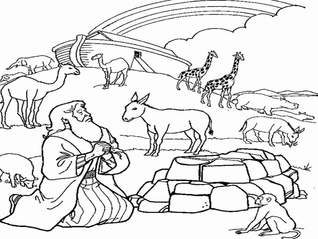 Noah And Rainbow Coloring Page Design