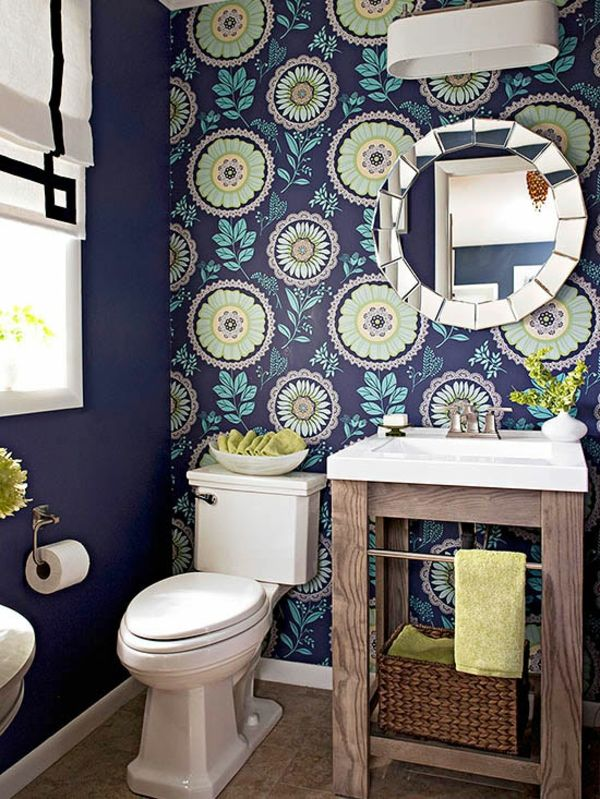 Badezimmergestaltung Ideen - Farben und Muster Pinterest Powder
