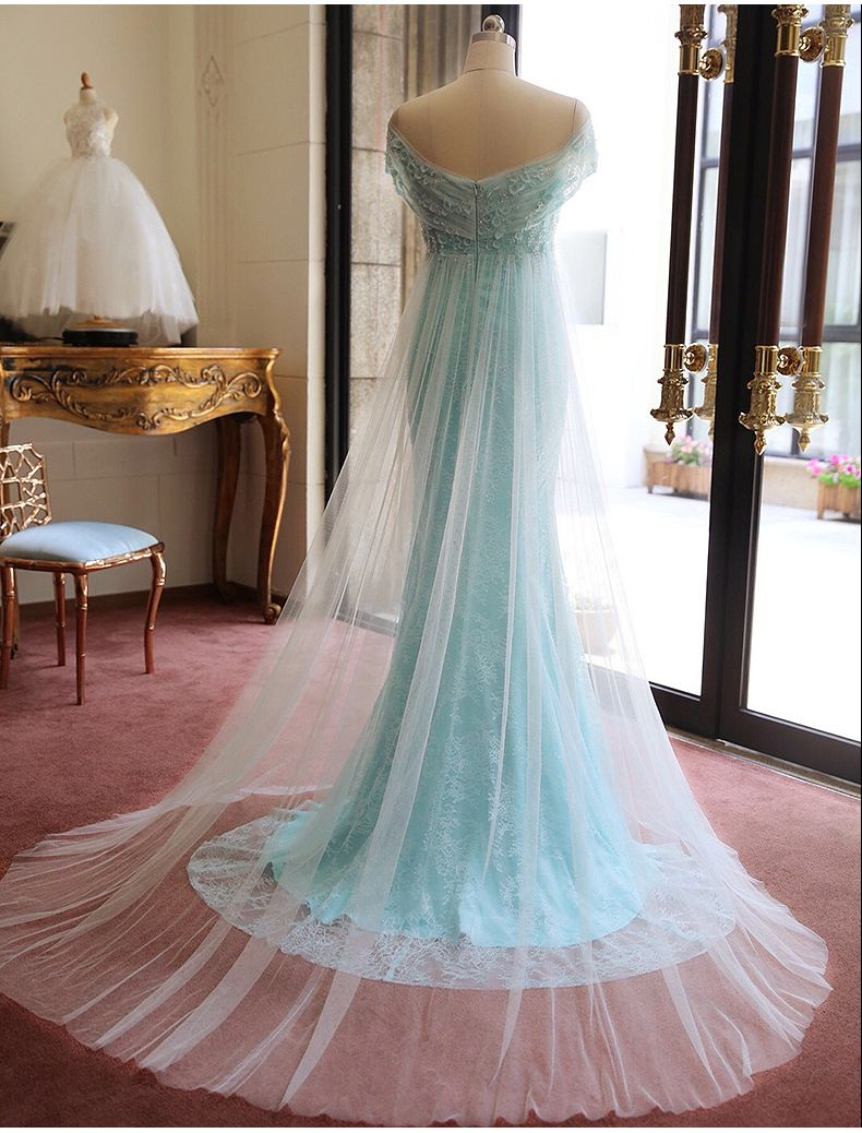 Blue Lace Tulle Evening Dress Off T | FASHION - EVENING GOWNS ...