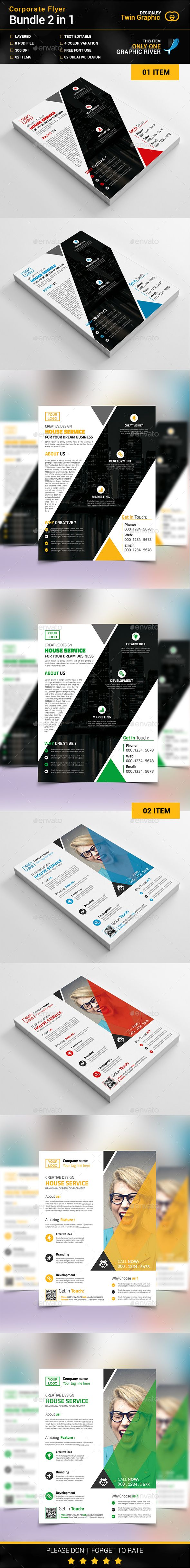 Corporate Flyer Bundle_2 in 1  . Customizable professional template for a business flyer. #FlyerTemplate #flyer #business #GraphicTemplate #design #PrintDesign #black #blue #BothSideDesign #BusinessCard #creative #designer #graphic #green #landscape #logo #magagine #ModernDesign #official #print #professional #simple #standard #web #white
