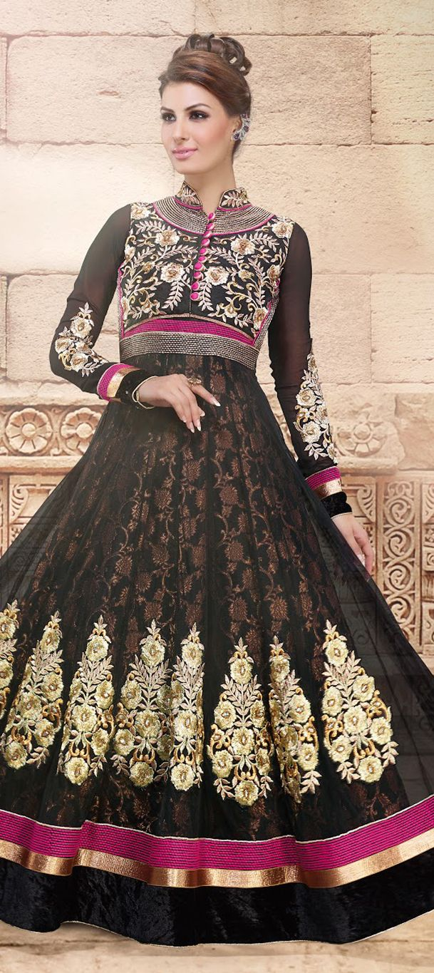 434125 Black and Grey color family stitched Anarkali