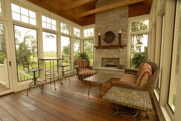 4 season porch design ideas pictures remodel and decor for Four season rooms with fireplaces