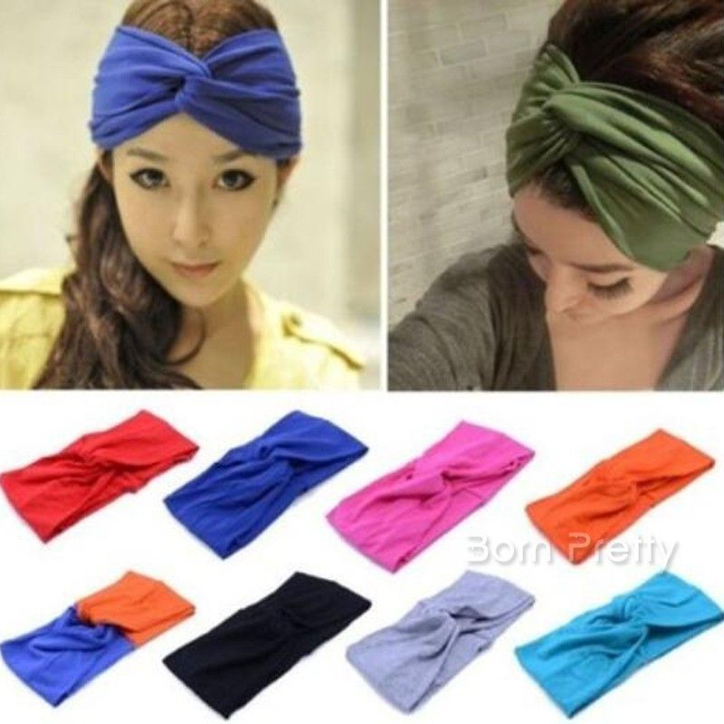 BLUE PAISLEY KNOTTED HEADWRAP HAIR WRAP HEADBAND LADIES NEW